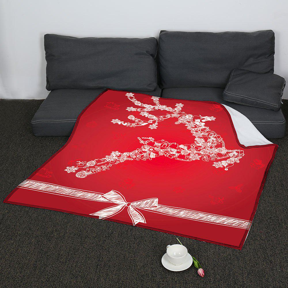 Christmas Snow Elk Pattern Coral Fleece Sofa Blanket - RED W47INCH*L59INCH