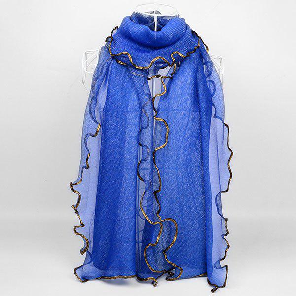 Golden Brim Embellished Chiffon Long Scarf - BLUE