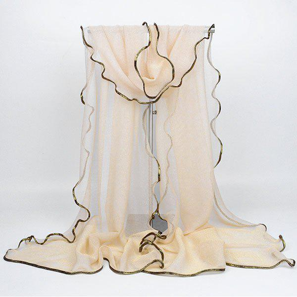 Golden Brim Embellished Chiffon Long Scarf - BEIGE
