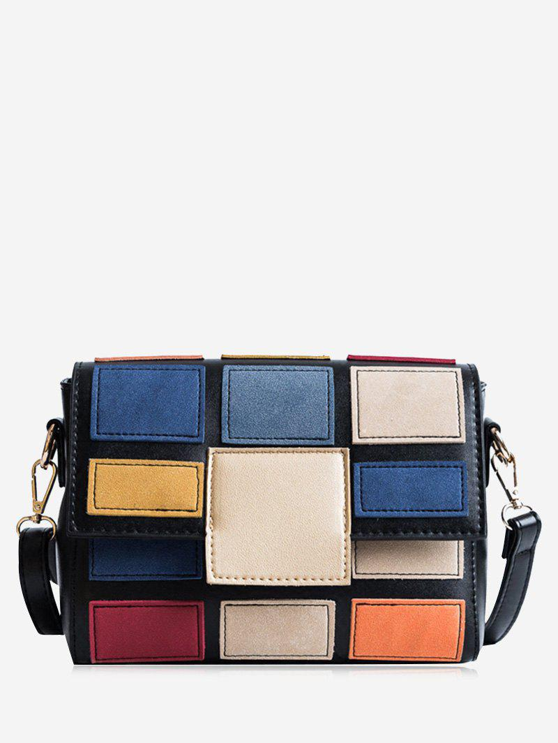 Contrasting Color Plaid Crossbody Bag - BLACK