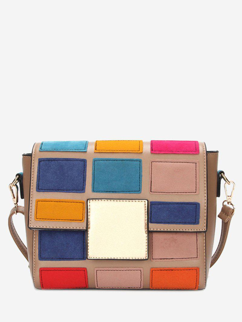 Sac à bandoulière contrastant couleur Plaid Crossbody - Rose