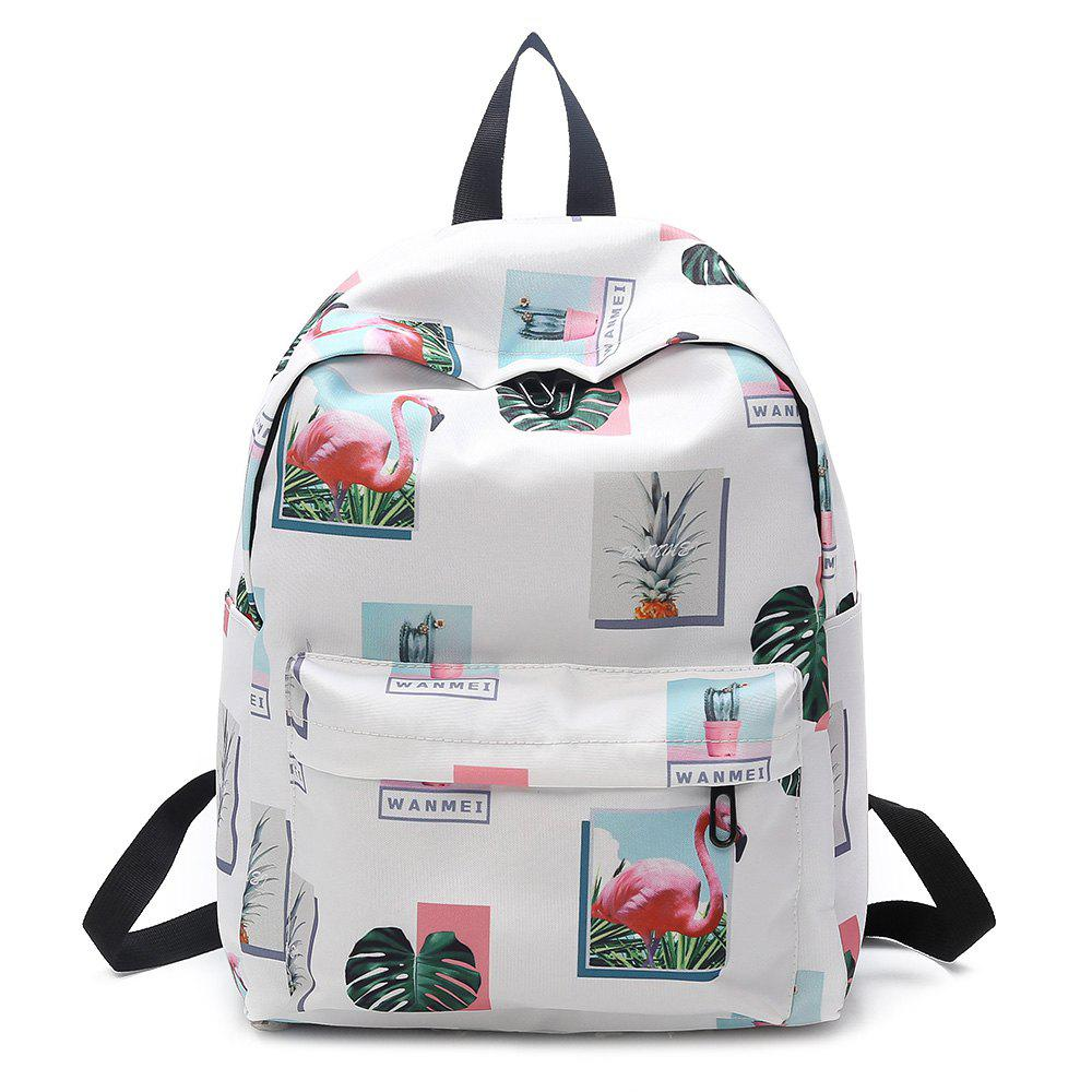 Patchwork Print Backpack - WHITE
