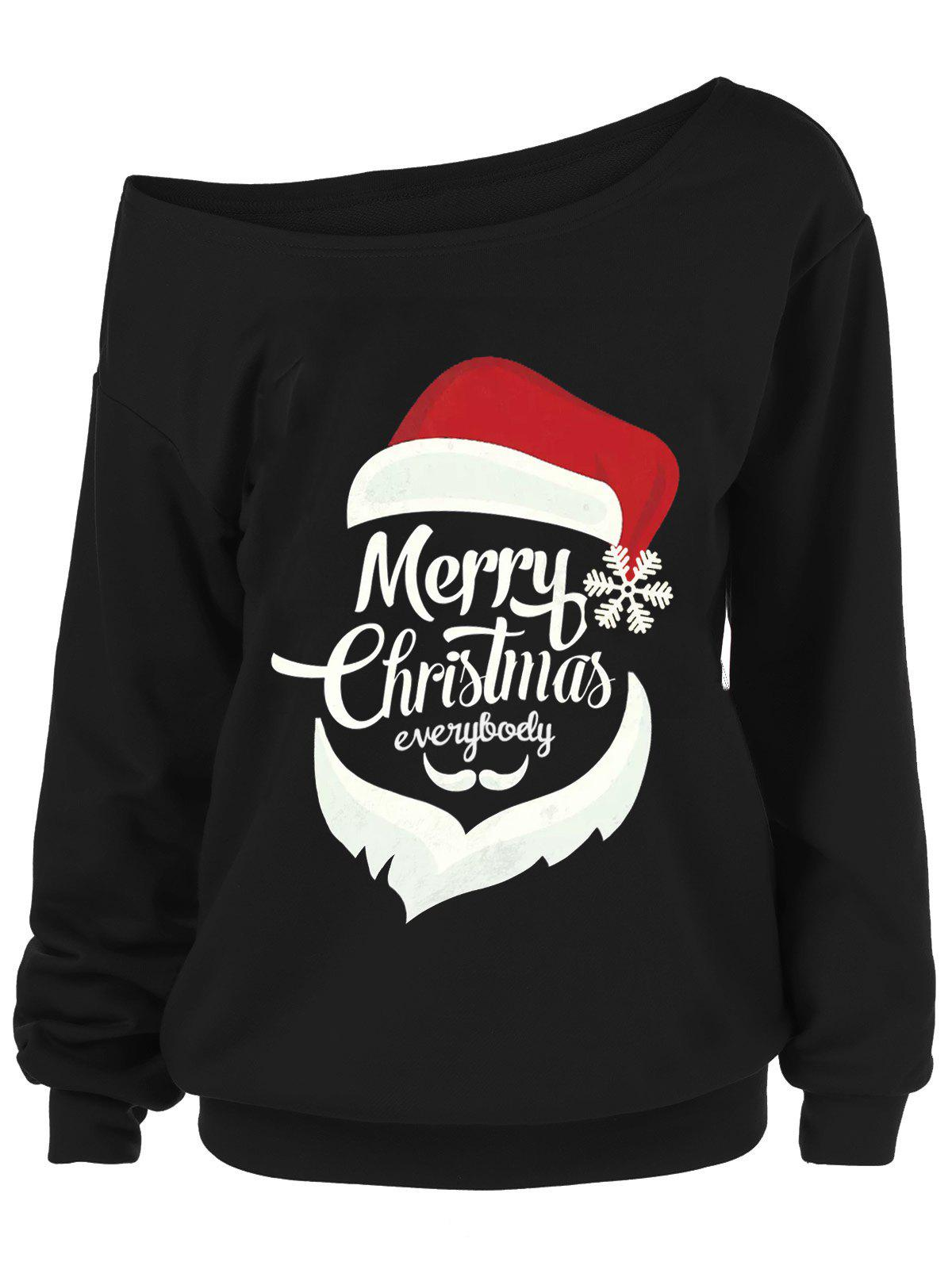 Merry Christmas Santa Claus Plus Size Sweatshirts side bowknot embellished plus size sweatshirts