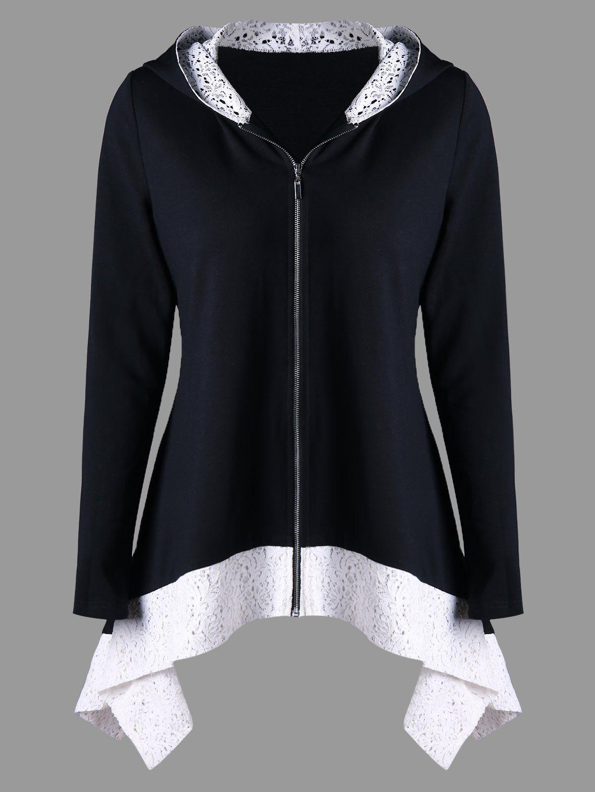 Lace Trim Zip Up Two Tone Hoodie - Noir M