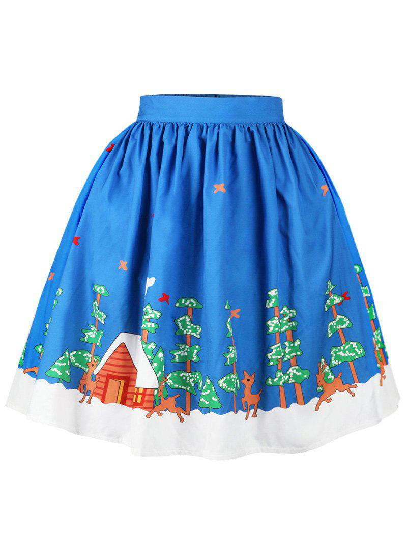 Christmas Butterfly Elk Tree Print Skirt - BLUE M