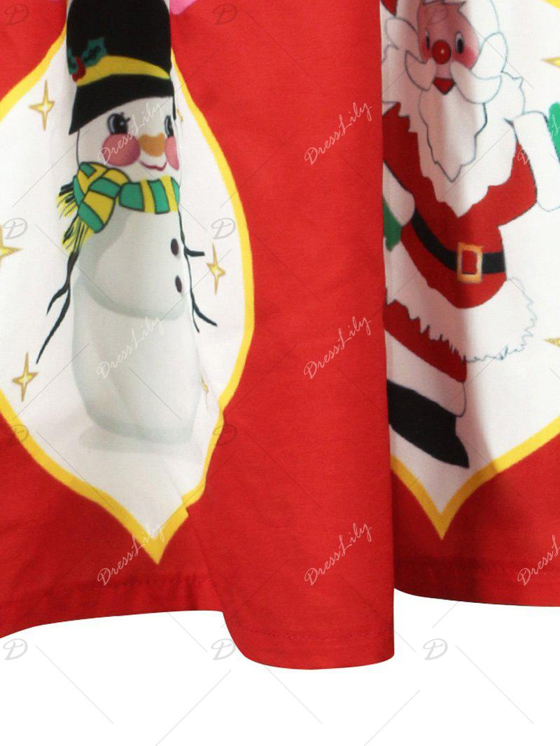 Christmas Snowman Santa Claus A Line Skirt - RED L