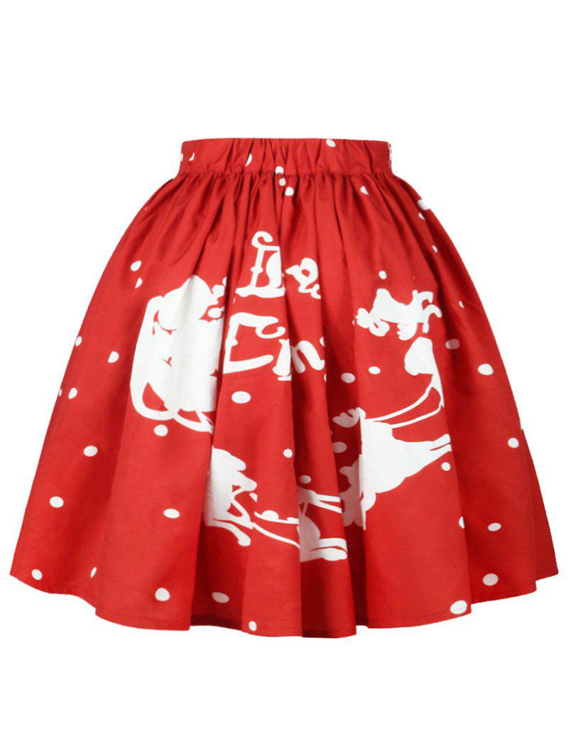 Christmas Polka Dot Sled Print Skirt - RED M