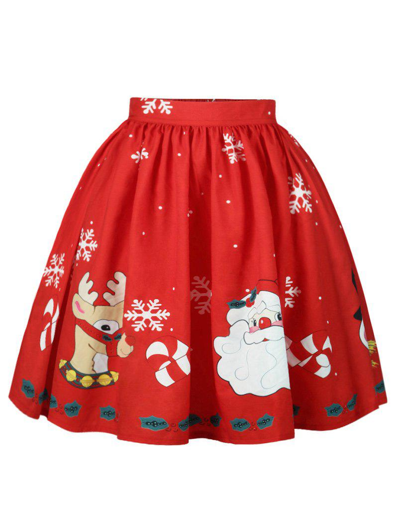 Christmas Elk Santa Claus Snowflake Print Skirt - RED S