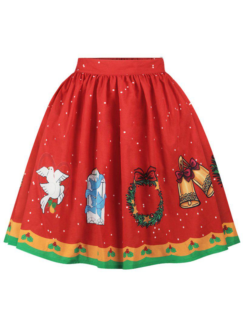 Christmas Bell Bird Print A Line Skirt - RED S