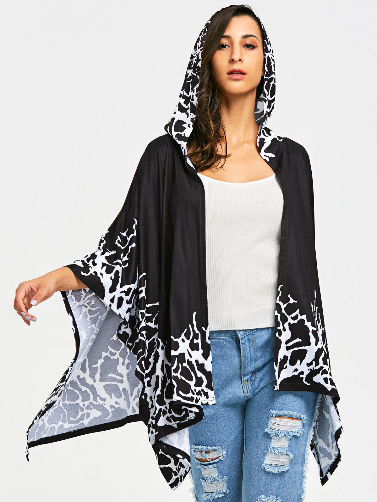 Asymmetric Open Front Hooded Cape - BLACK XL