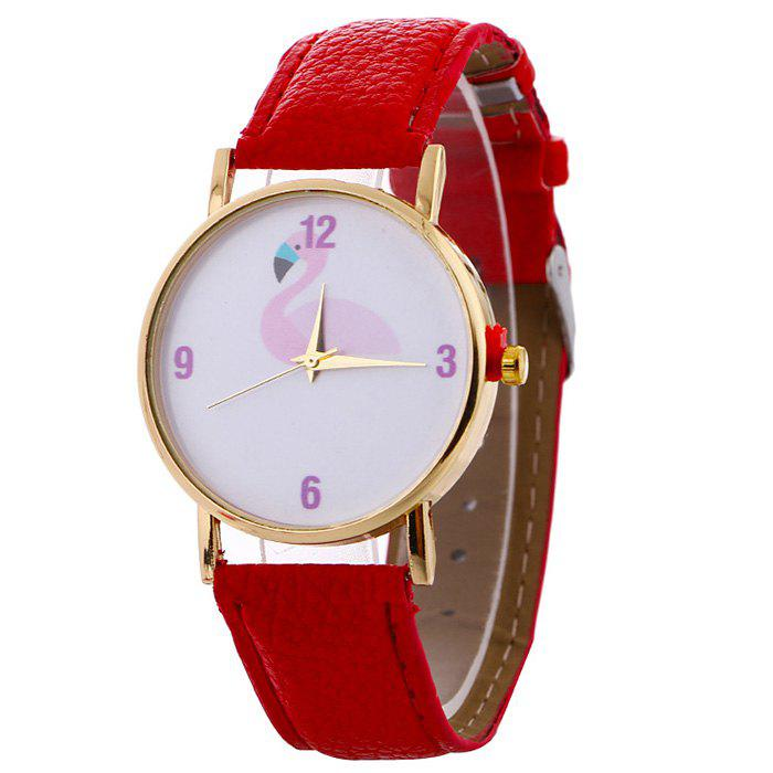 Flamingo Face Faux Leather Watch - RED