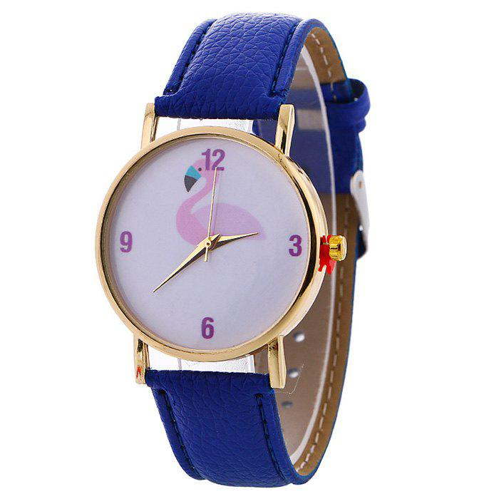 Flamingo Face Faux Leather Watch - BLUE