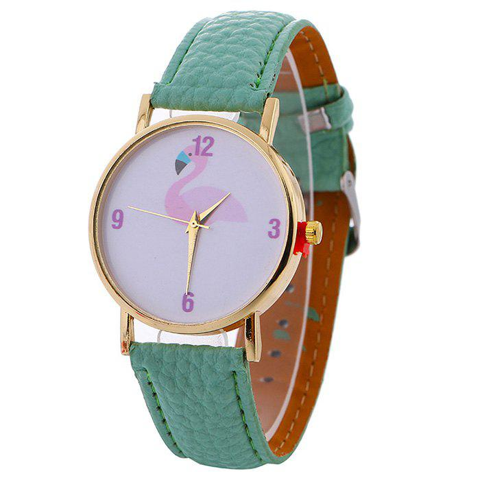Flamingo Face Faux Leather Watch - MINT