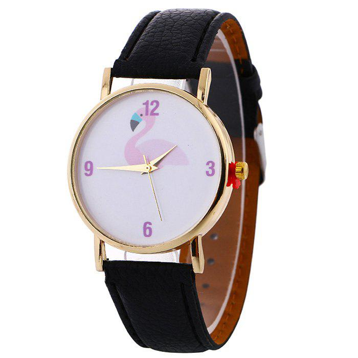 Flamingo Face Faux Leather Watch - BLACK