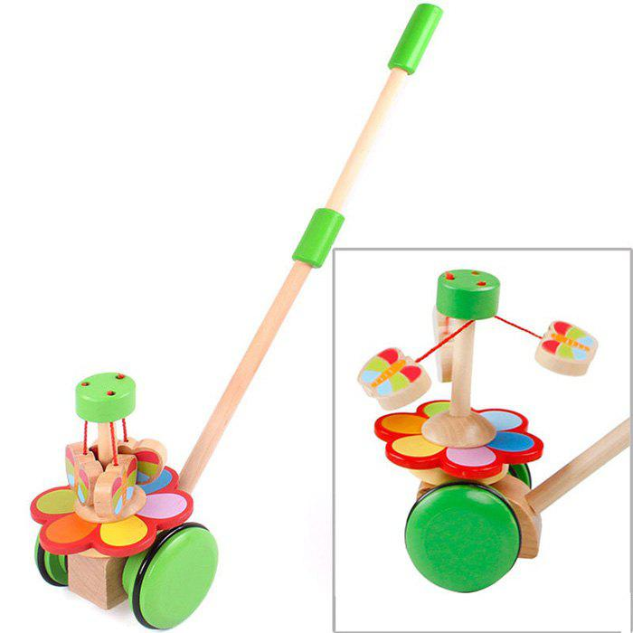 Wooden Rotate Butterfly Handcart Baby Walker Doll - GREEN