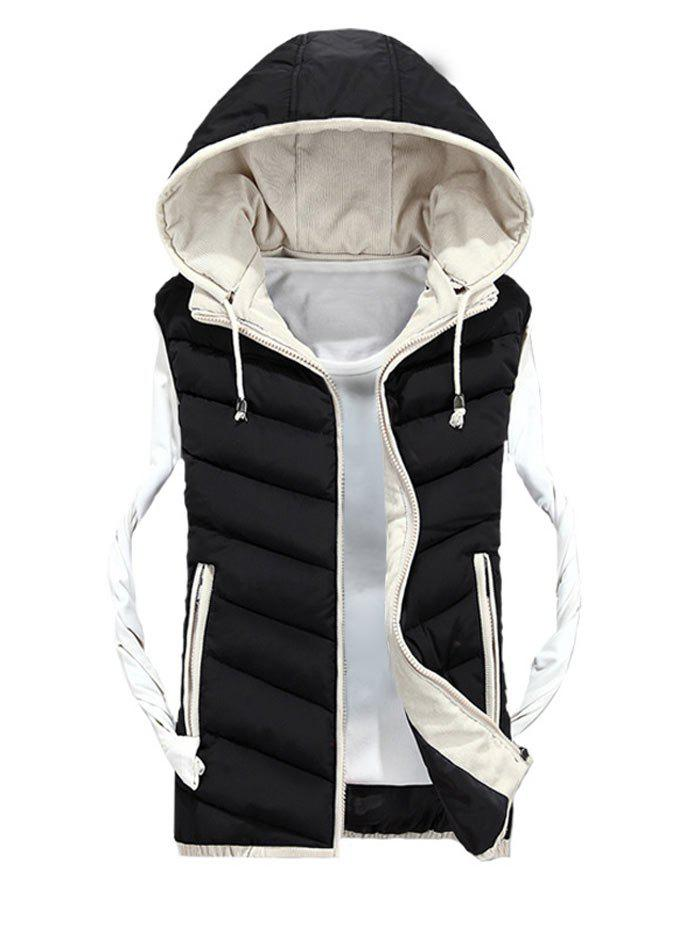 Zipper Up Detachable Hood Quilted Vest - BLACK M