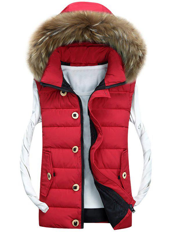 Zipper Up Detachable Hood Padded Vest - RED 3XL