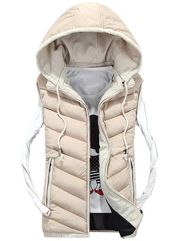 Zipper Up Detachable Hood Quilted Vest - OFF WHITE XL