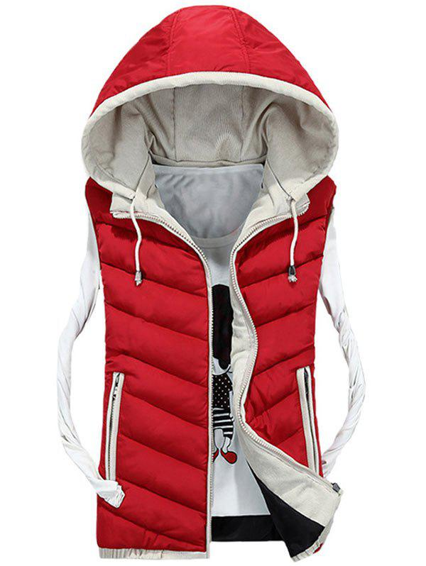Zipper Up Detachable Hood Quilted Vest - RED M