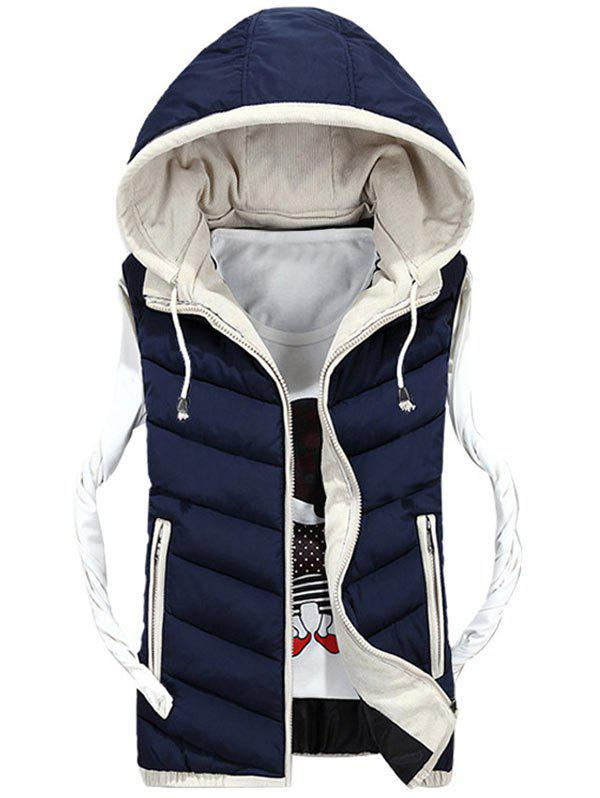 Zipper Up Detachable Hood Quilted Vest - PURPLISH BLUE XL