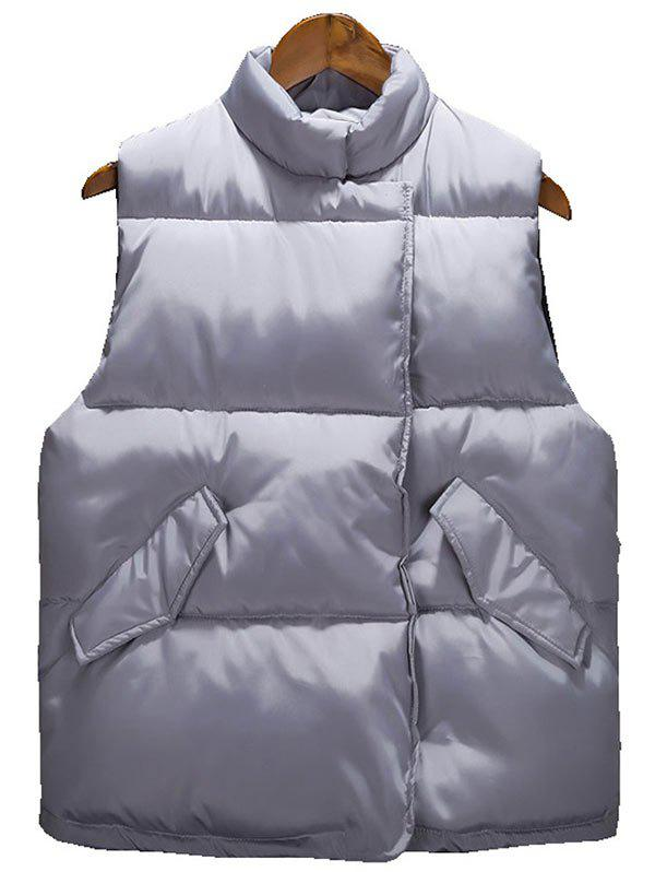 Asymmetrical Snap Button Up Padded Vest - GRAY L