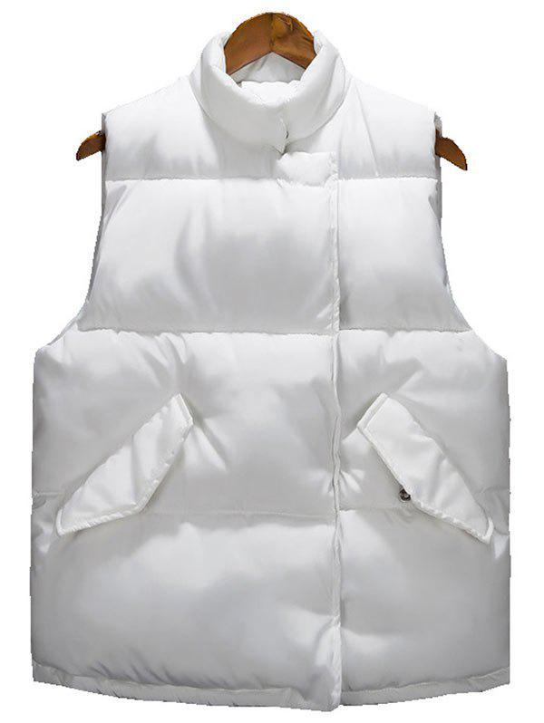 Bouton asymétrique Snap Button Up Veste matelassée - Blanc XL