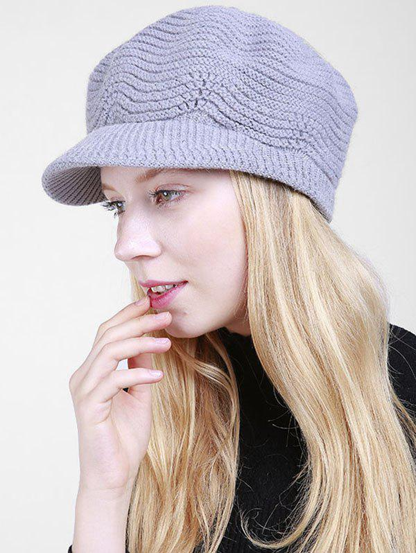Wave Shape Knitted Newsboy Hat - LIGHT GRAY