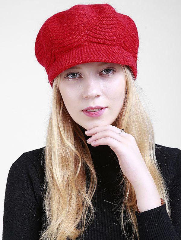 Wave Shape Knitted Newsboy Hat - BRIGHT RED