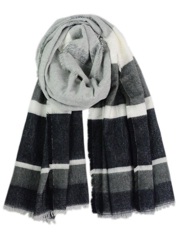 Fringed Color Block Long Scarf - BLACK
