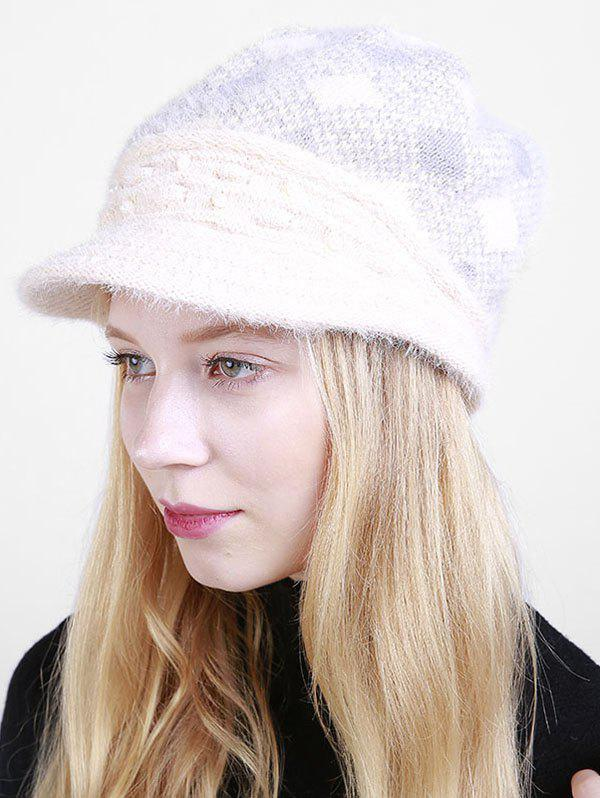 Beaded Embellished Rhombus Plaid Newsboy Hat - BEIGE