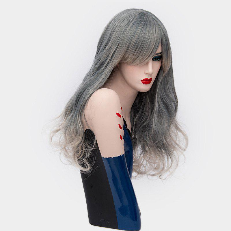 Long Side Bang Shaggy Curly Ombre Synthetic Party Wig - Cendre
