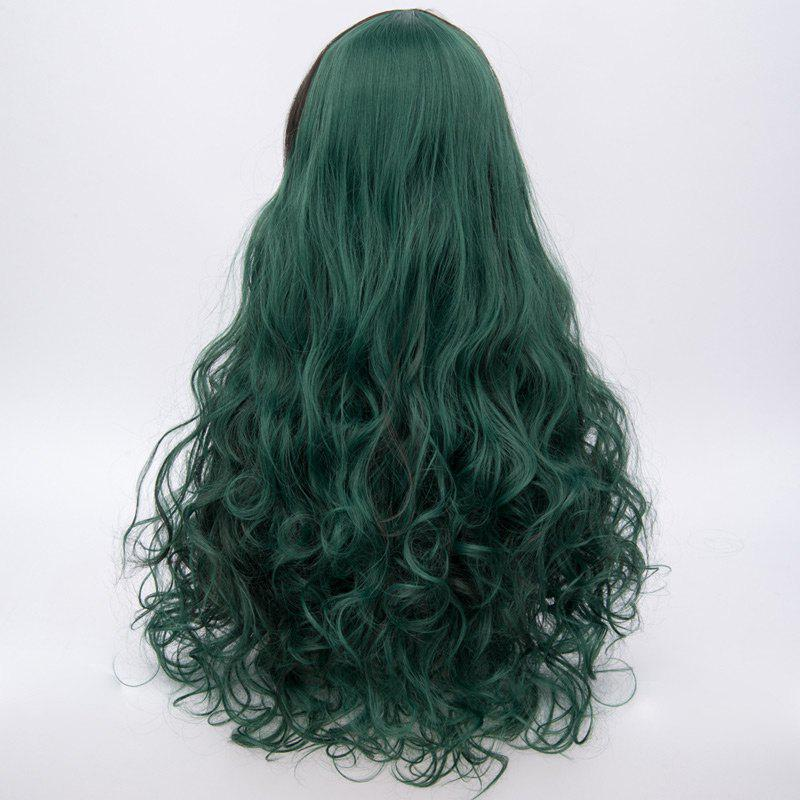 Long Side Bang Fluffy Curly Highlighted Synthetic Wig - BLACKISH GREEN