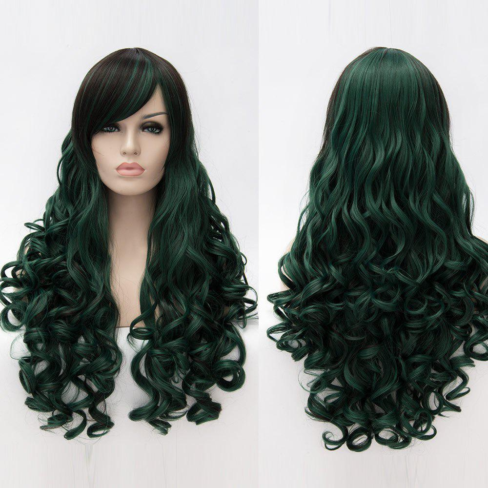 Long Side Bang Fluffy Curly Colormix perruque synthétique - Vert Foncé