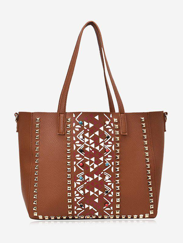Studs Geometric 3 Pieces Tote Bag Set - BROWN