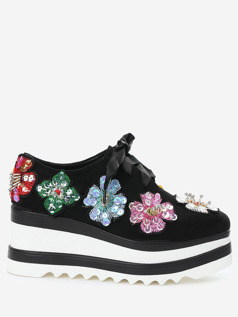 Flowers Square Toe Wedge Shoes - BLACK 35