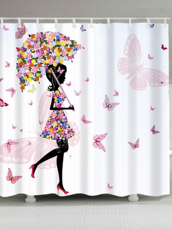 Girl Butterflies Flower Print Waterproof Shower Curtain - WHITE W59 INCH * L71 INCH