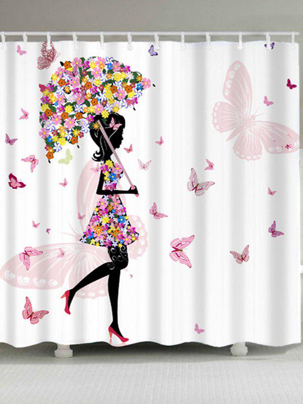 Girl Butterflies Flower Print Waterproof Shower Curtain - WHITE W71 INCH * L71 INCH