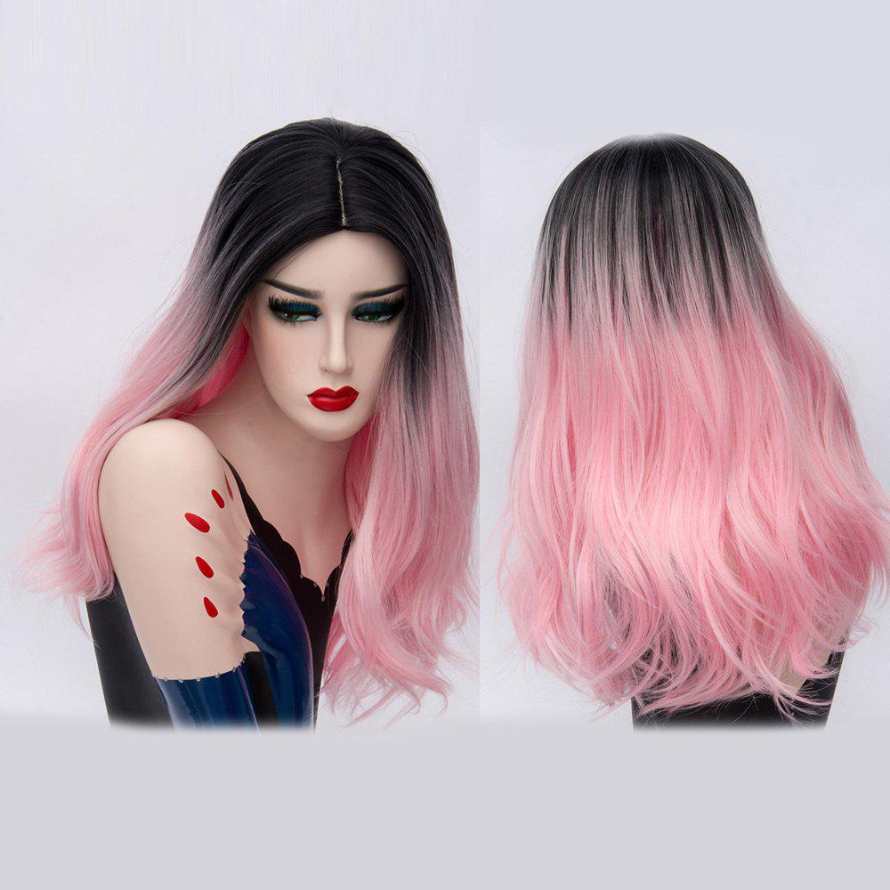 Long Ombre Middle Part Natural Straight Synthetic Party Wig - Rose