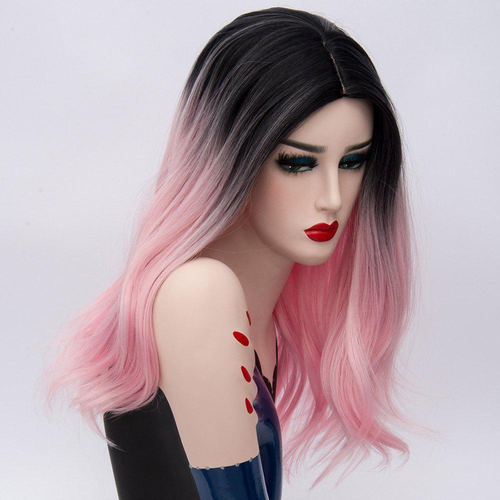 Long Ombre Middle Part Natural Straight Synthetic Party Wig - ROSE PÂLE