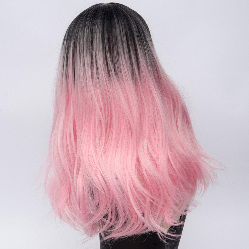 Long Ombre Middle Part Natural Straight Synthetic Party Wig - PINK