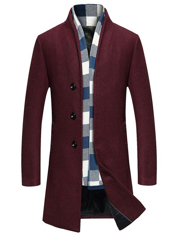 Manteau Long en Laine à Boutonnage Simple - Rouge vineux XL