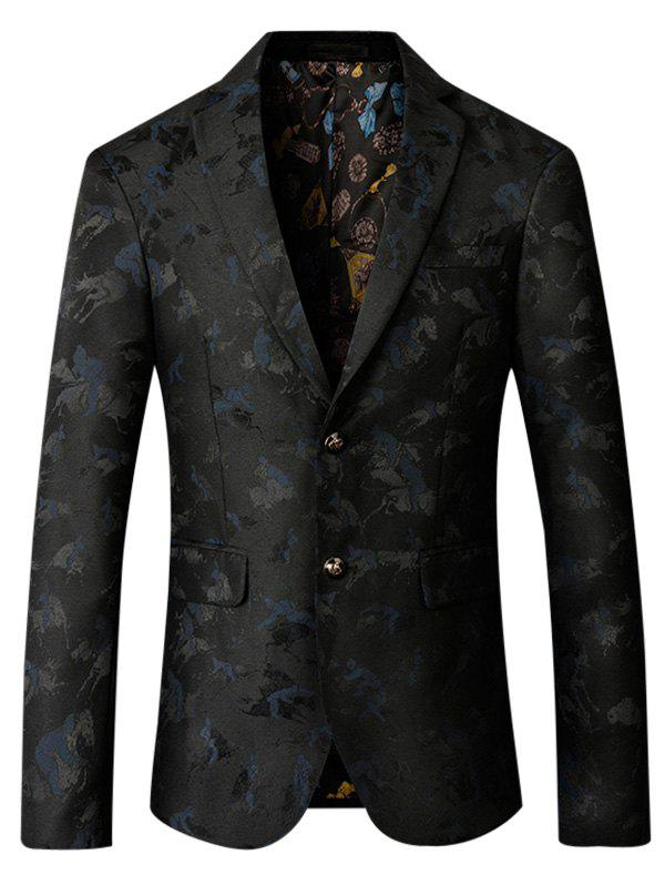 Riding Jacquard Single Breasted Blazer - PURPLISH BLUE 4XL
