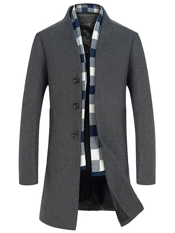 Manteau Long en Laine à Boutonnage Simple - gris XL