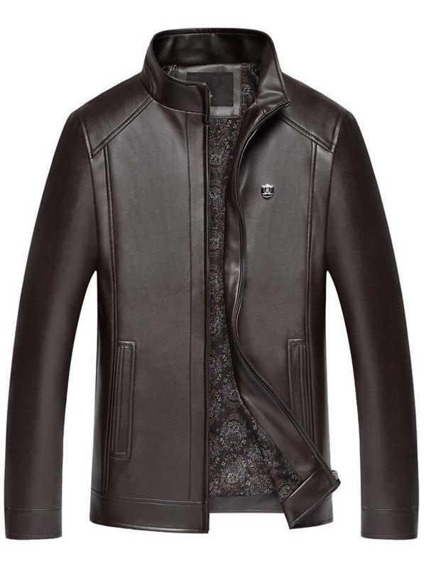 Badge Faux Leather Zip Up Jacket - Brun Foncé 2XL