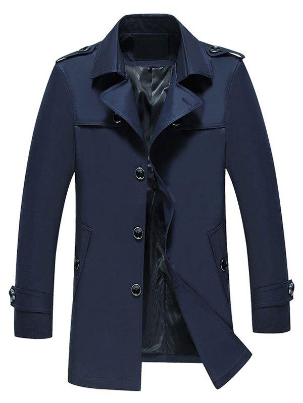 Manteau Long à Boutonnage Simple - Bleu Cadette L
