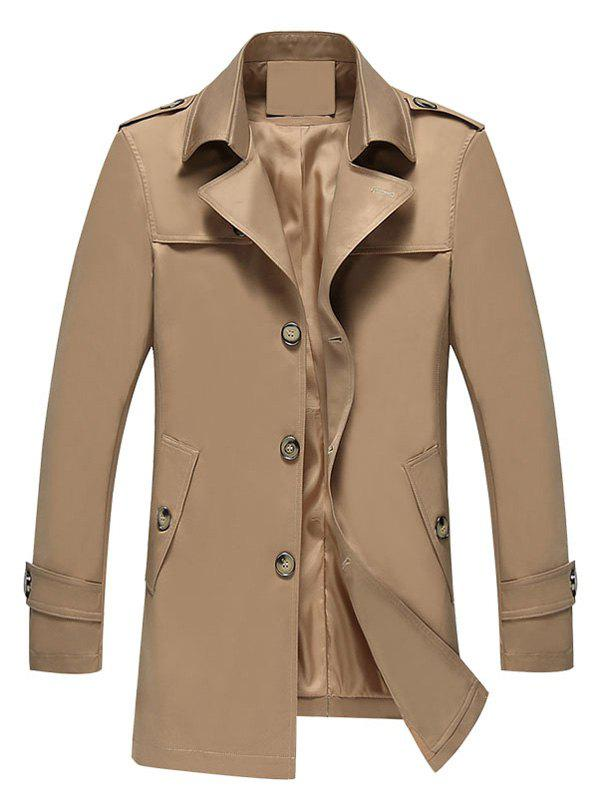 Manteau Long à Boutonnage Simple - Kaki XL
