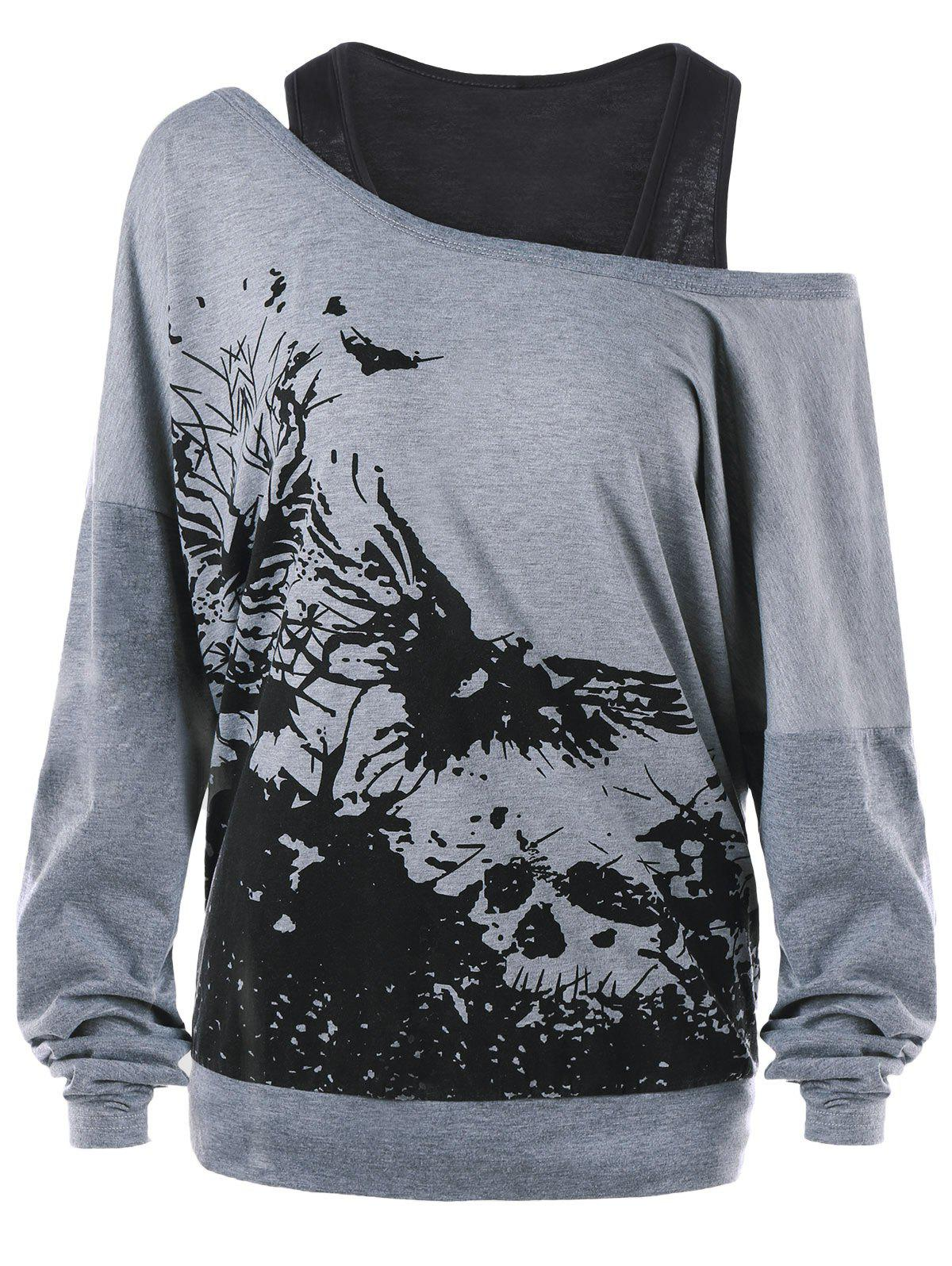 Ink Painting Print Plus Size Sweatshirt with Tank Top plus size bikini set with print tank top
