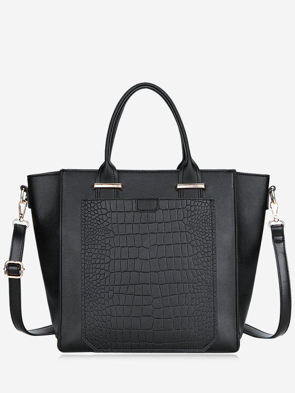 Sac à Main Crocodile en Cuir Artificiel - Noir