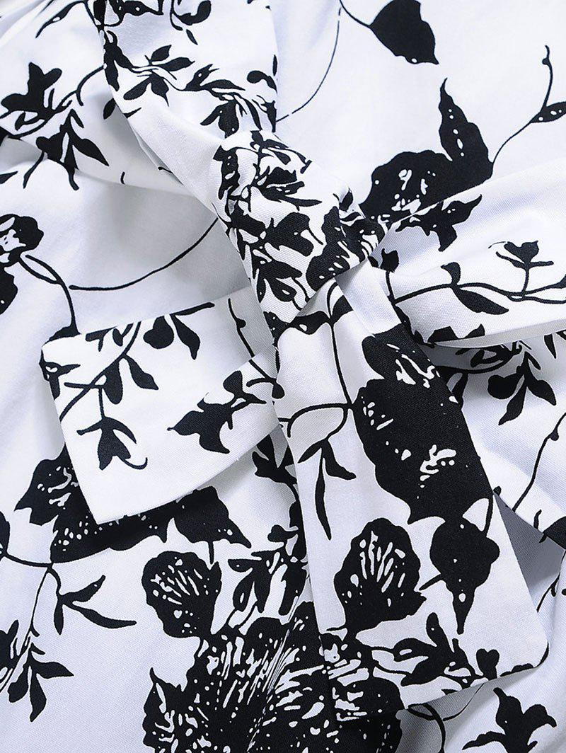 Vintage Floral Print Bowknot Pin Up Skater Dress - BLACK WHITE S