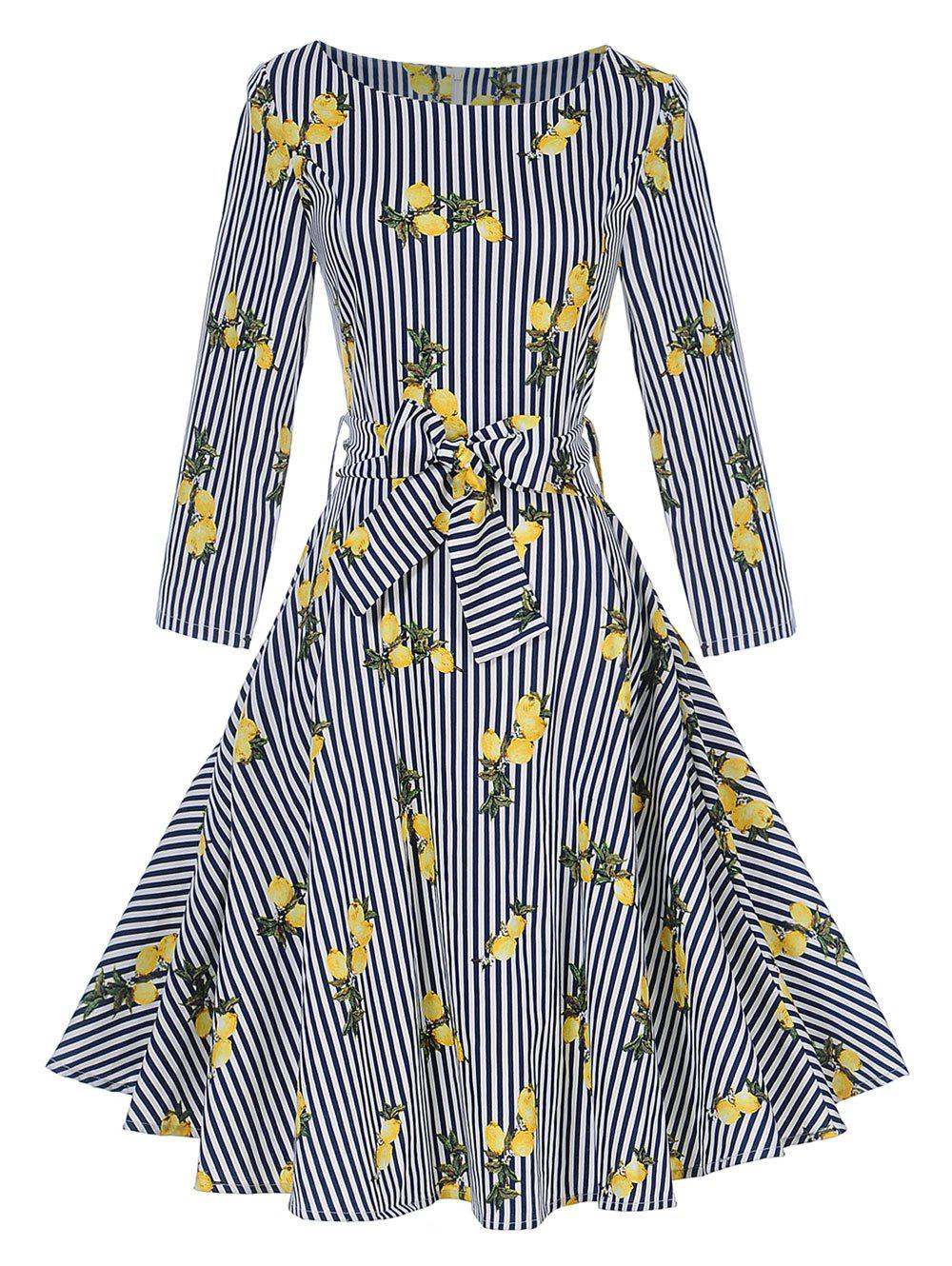 Vintage Lemon Print Striped Pin Up Skater Dress - STRIPE 2XL